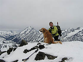 Suzanne  And Sadie On The Summit Of Navaho Peak